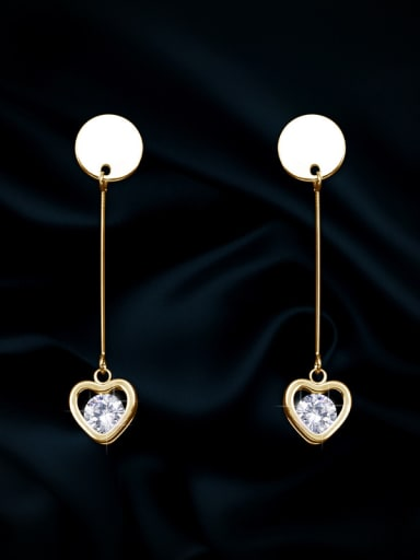 Copper With Cubic Zirconia Simplistic Heart Drop Earrings