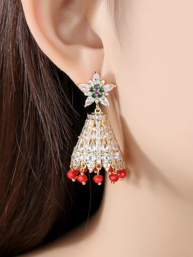 Copper With Gold Plated Ethnic Irregular Chandelier Earrings
