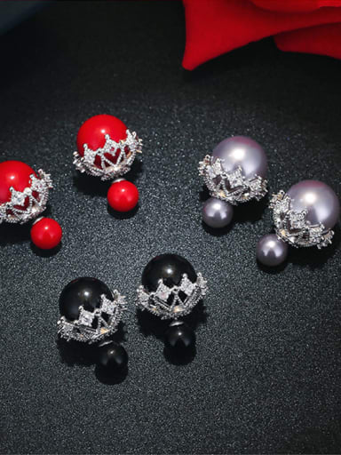 Simple double-sided snowflake imitation pearl earrings red black and white three colors optional