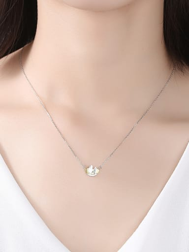 925 Sterling Silver With Two-color Plated Personality  Christmas tree  Necklaces