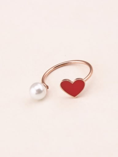 Red Glue Artificial Pearl Opening Ring