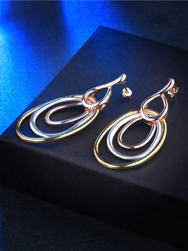 Multi-circle Shaped Three Color Drop Earrings