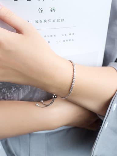 Temperament Round Shaped Shining Zircon S925 Silver Bracelet