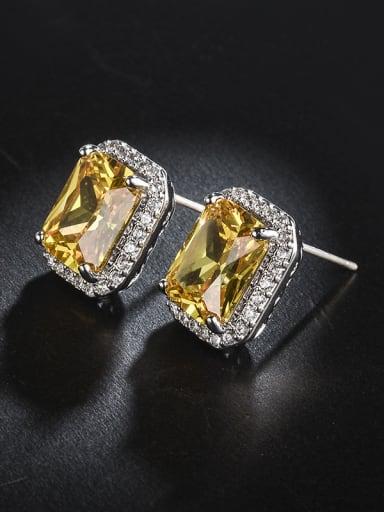 Micro-inlay Zircon yellow bling-bling Earrings