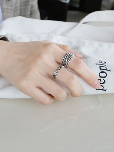 925 Sterling Silver With Antique Silver Plated Vintage Leaf Free Size Rings