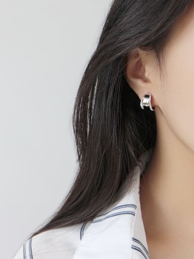 925 Sterling Silver With Platinum Plated Simplistic Wide-faced Stud Earrings