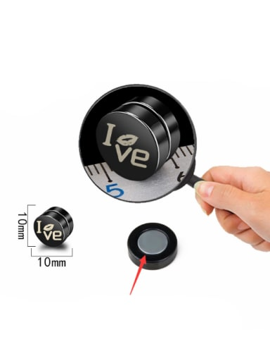 Stainless Steel With Black Gun Plated Personality Round love words Stud Earrings