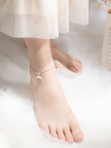 925 Sterling Silver With Platinum Plated Cute Mermaid Fishtail  Anklets