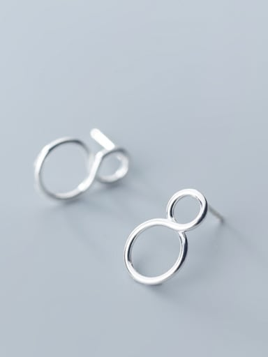 925 Sterling Silver With Silver Plated Simplistic Number 8 Stud Earrings