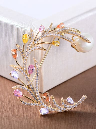 Copper With Cubic Zirconia Delicate Leaf Brooches