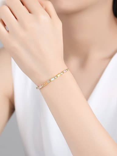 Copper With 18k Gold Plated Fashion Geometric Cubic Zirconia Bracelets