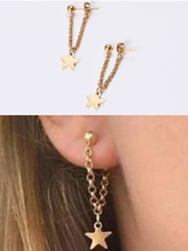 Titanium With Rose Gold Plated Simplistic Star Drop Earrings