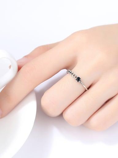 Sterling Silver asymmetric black zircon free size rings