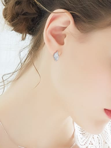 Tiny Shiny Zirconias-covered Leaf 925 Silver Stud Earrings