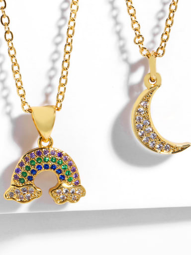 Copper With Cubic Zirconia Fashion Moon/Rainbow Necklaces