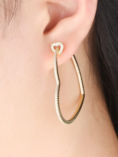 Copper With  Cubic Zirconia Trendy Heart Hoop Earrings