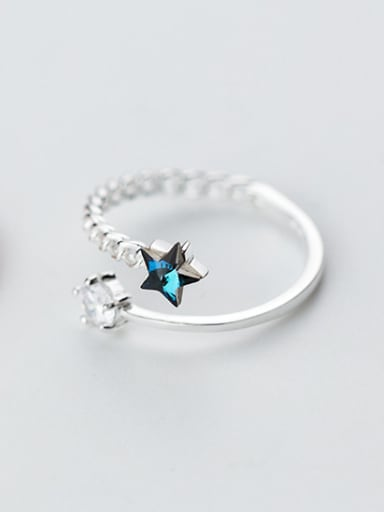 Open Design Star Shaped Rhinestone S925 Silver Ring