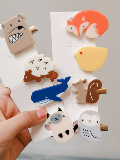 Alloy With Cellulose Acetate Fashion Cartoon Animal Barrettes & Clips
