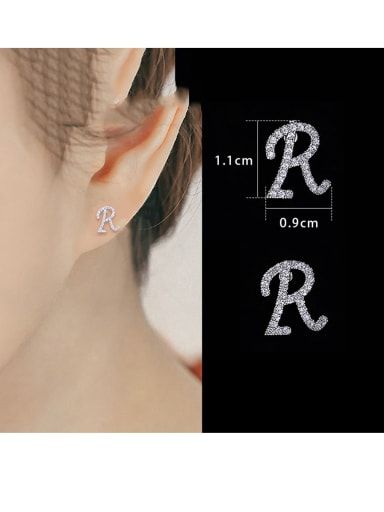 Copper With Platinum Plated Simplistic Monogrammed Stud Earrings
