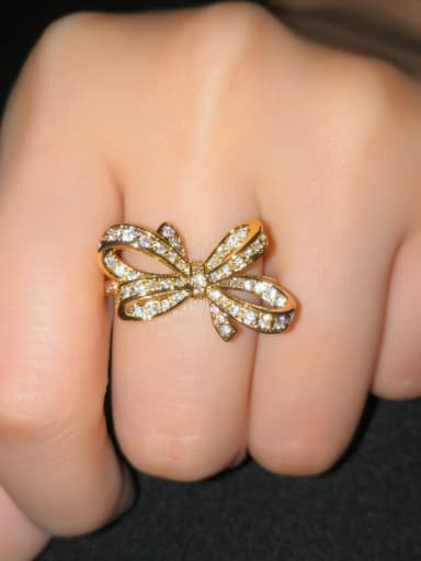 Copper With Cubic Zirconia Cute Bowknot Rings
