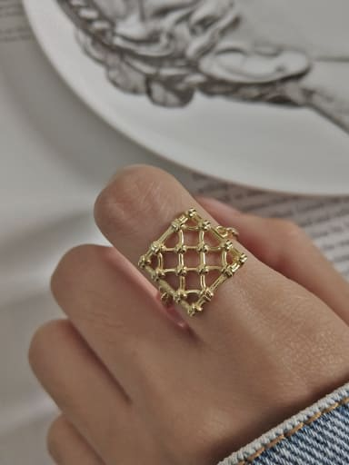 925 Sterling Silver With 18k Gold Plated Trendy Reticular Rings