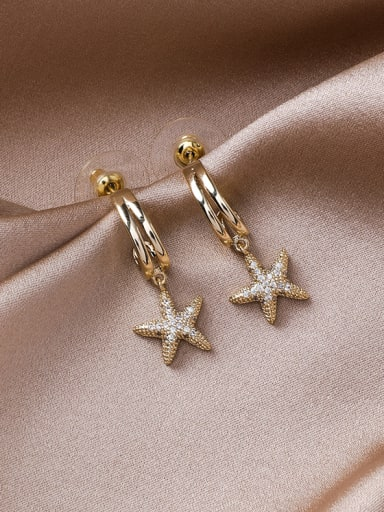 Alloy With Gold Plated Delicate Star Drop Earrings