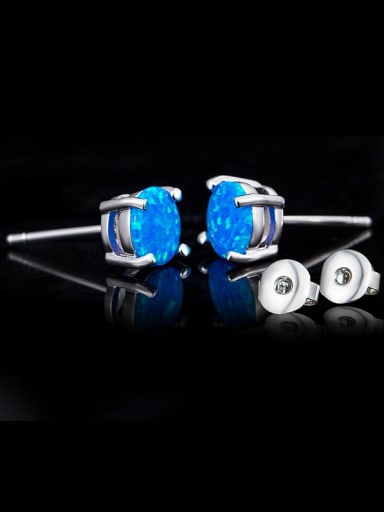 Blue Round Shaped stud Earring