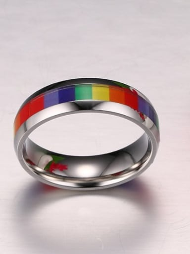 Unisex Colorful Stainless Steel Sticker Ring
