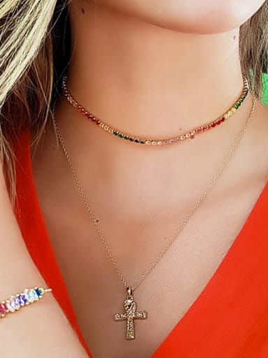 Copper With Cubic Zirconia Classic Round Necklaces