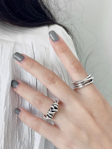 925 Sterling Silver With Antique Silver Plated Vintage Multi-layer Winding Line  Free Size Rings