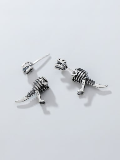 925 Sterling Silver With Antique Silver Plated Vintage Skull Stud Earrings