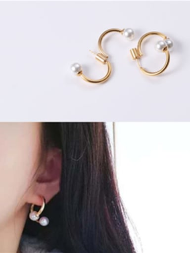Titanium With Gold Plated Simplistic Irregular Clip On Earrings