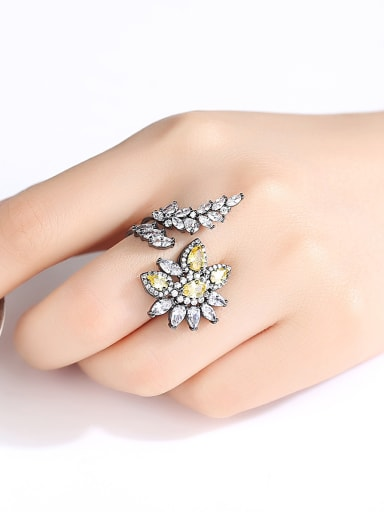 Copper With Cubic Zirconiad Vintage Flower Free Size Rings
