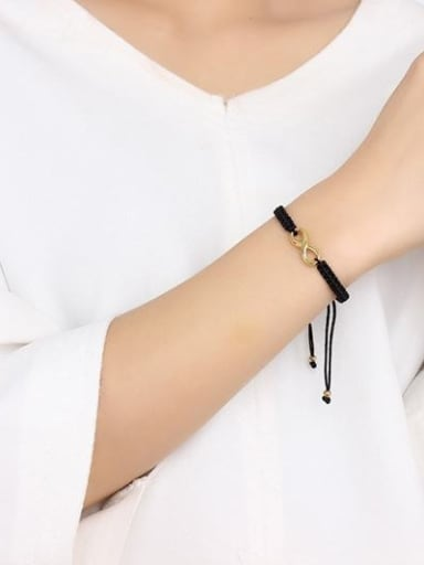 Adjustable Gold Plated Figure Eight Shaped Artificial Leather Bracelet
