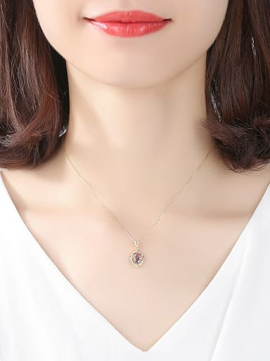 Sterling silver inlaid colorful zircon necklace
