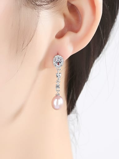 Pure silver AAA zircon Natural Freshwater Pearl Earrings