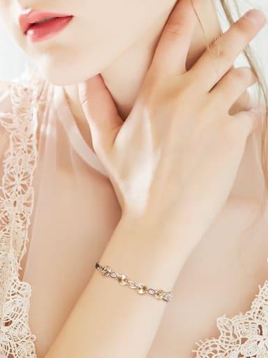 Fashion Little Yellow Swarovski Crystals 925 Silver Bracelet