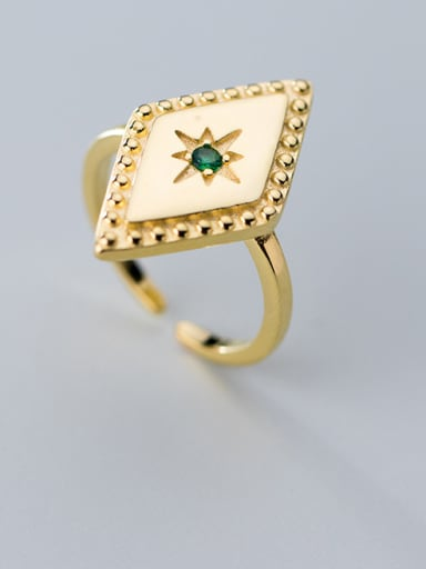 925 Sterling Silver With Gold Plated Trendy Geometric Free Size Rings