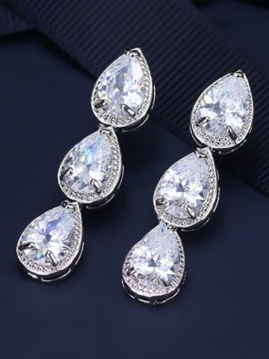 AAA Zircon Water Drop Cluster earring