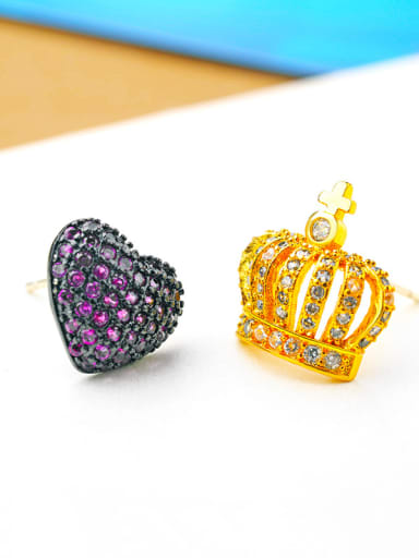 Lovely princess crown  micro-inlay AAA zircons asymmetrical studs earring