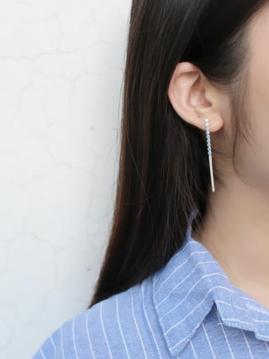 925 Sterling Silver With round Threader Earrings