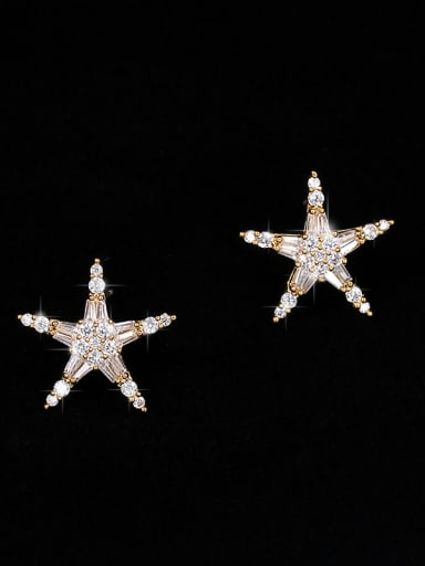Copper With  Cubic Zirconia Simplistic Star Stud Earrings