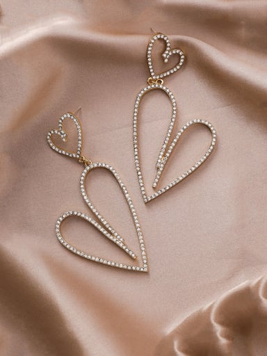 Alloy With Rose Gold Plated Simplistic Heart Chandelier Earrings