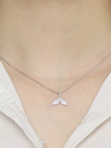 925 Sterling Silver With Cubic Zirconia Fashion Dolphin fishtail Necklaces