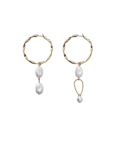 Alloy With Imitation Gold Plated Simplistic Round Drop Earrings