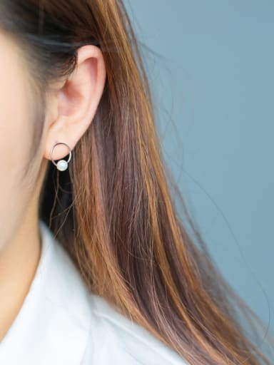 S925 Silver Fashion Sweet Pearl Round Stud cuff earring