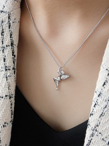 925 Sterling Silver With Platinum Plated Cute Angel Necklaces