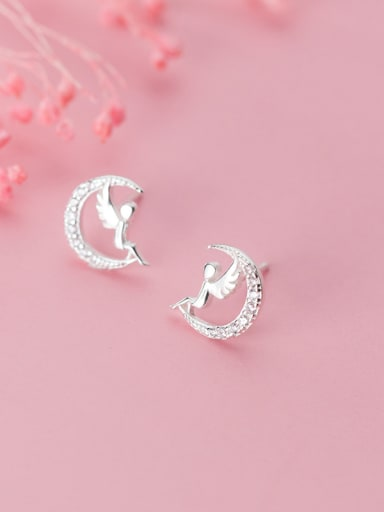 925 Sterling Silver With Platinum Plated Simplistic Moon Angel Stud Earrings