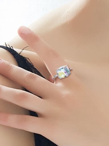 Simple Cubic Swarovski Crystal Silver Ring