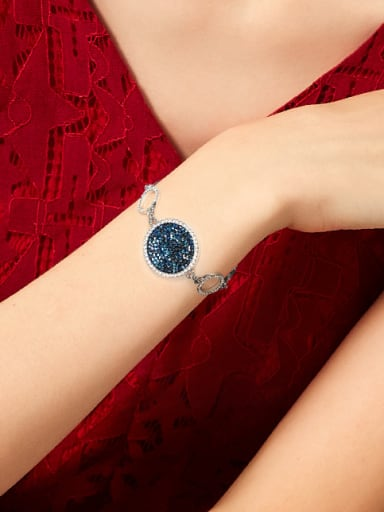 Fashion Hollow Round Blue Swarovski Crystals Copper Bracelet